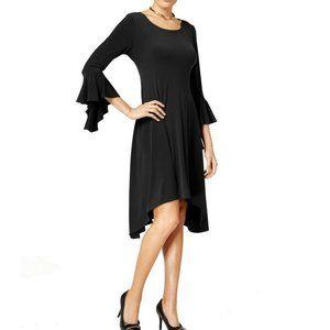 Alfani Asymmetrical Bell-Sleeve Dress Deep Black 1